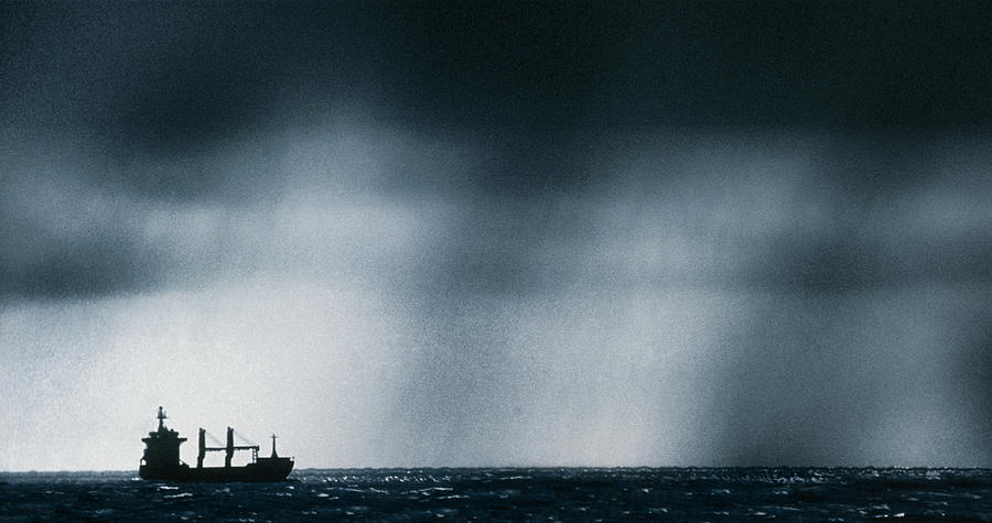Frontal Storm Photograph - Ship At Sea Caught In Stormy Weather by Geoff Tompkinson