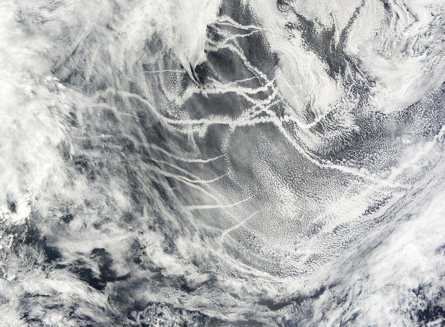 Ocean Photograph - Ship Tracks In The Pacific Ocean by Stocktrek Images