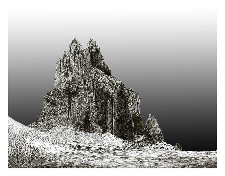 Mountain Formation Drawing - Shiprock Mountain Four Corners by Jack Pumphrey