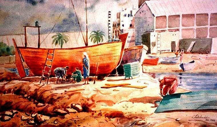 Landscape Painting Painting - Shipyard Karachi by Salahuddin Shaikh