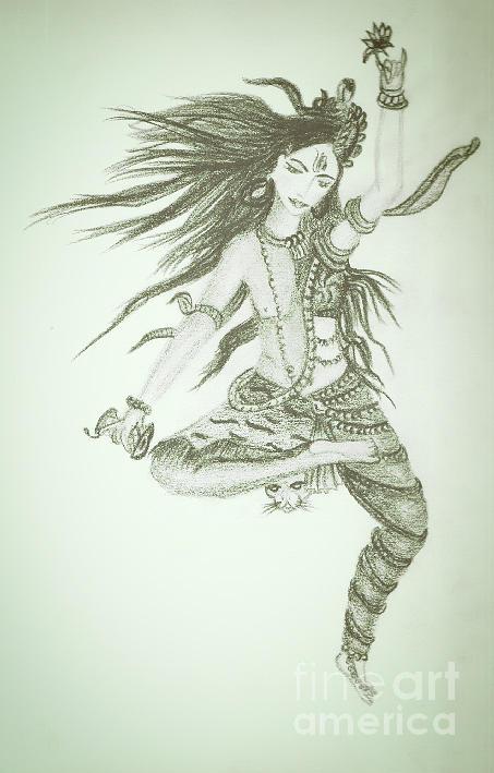 Shiva Drawing by Yamini Vashista