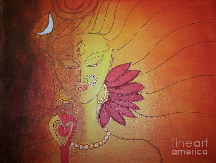Acrylic Painting - Shivshakti - Ardhnaarishwar by Anu Darbha