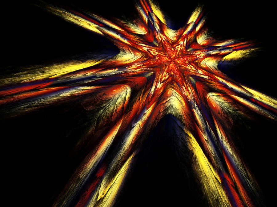 Fractal Digital Art - Shooting Star by Janet Russell