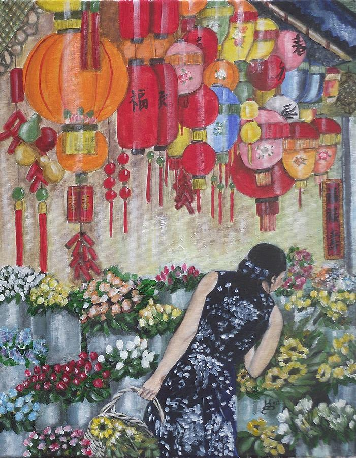 Acrylic Painting - Shopping In Chinatown by Kim Selig