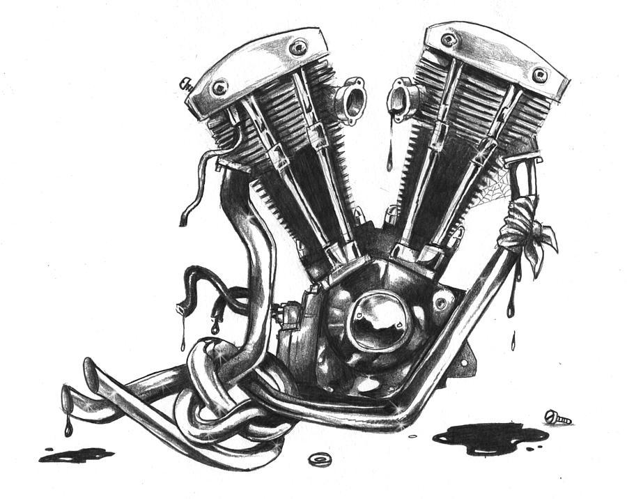 Shovel Jon Towle on V8 Engine Cartoon Drawing