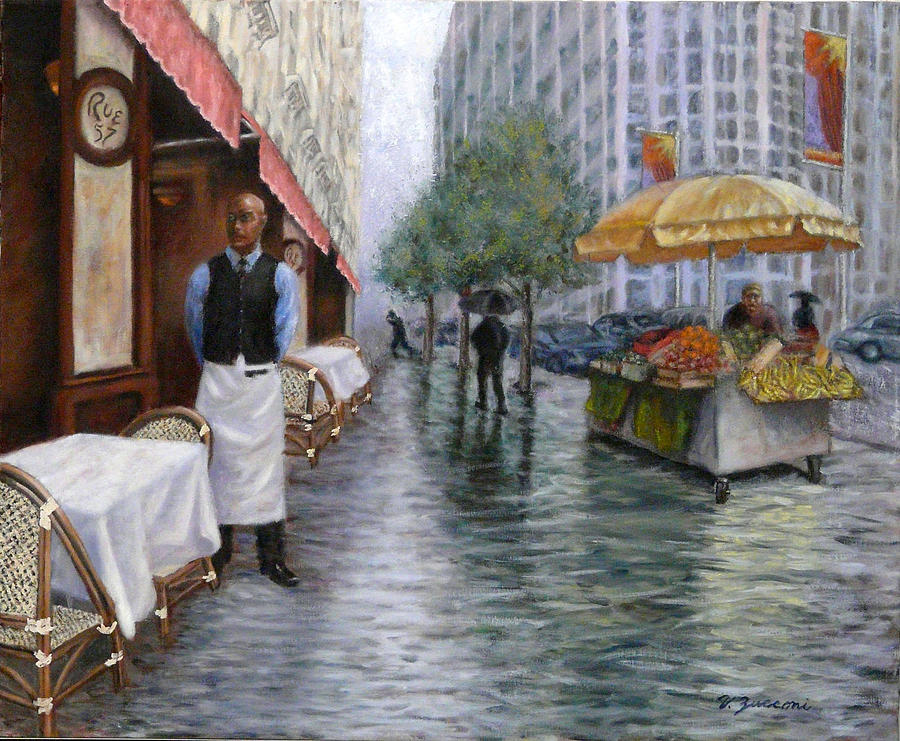 New York City Cafe Street Scene Painting - Shower On Sixth  Avenue by Victor Zucconi