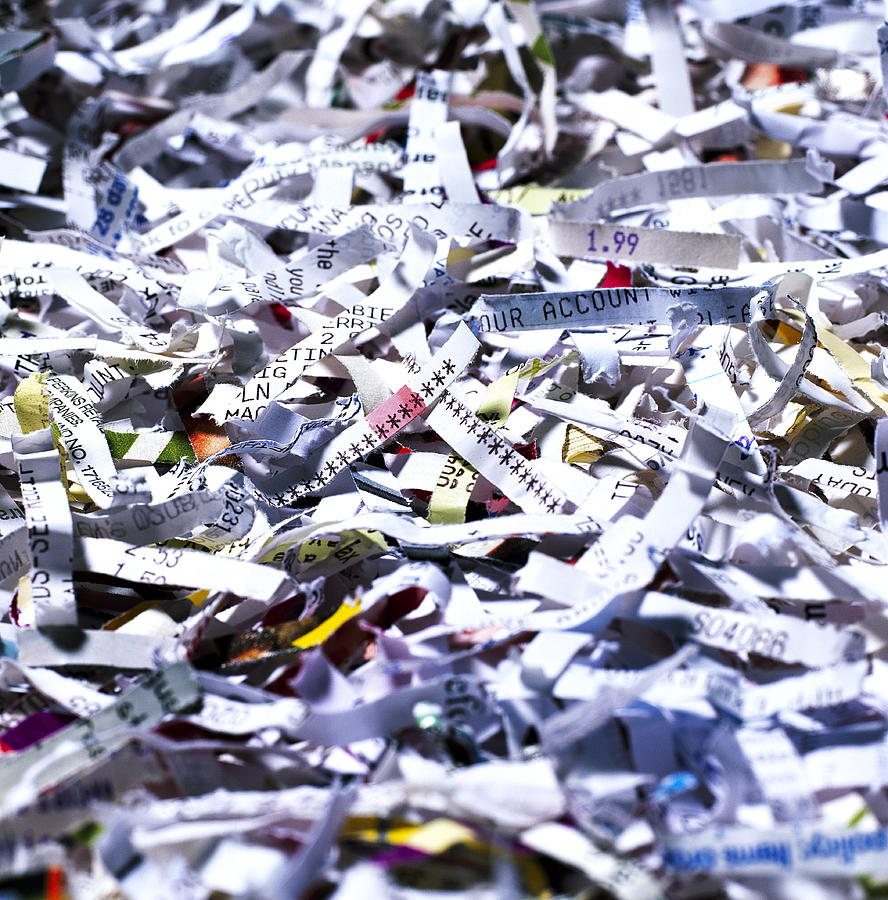 Paper Photograph - Shredded Documents by Kevin Curtis