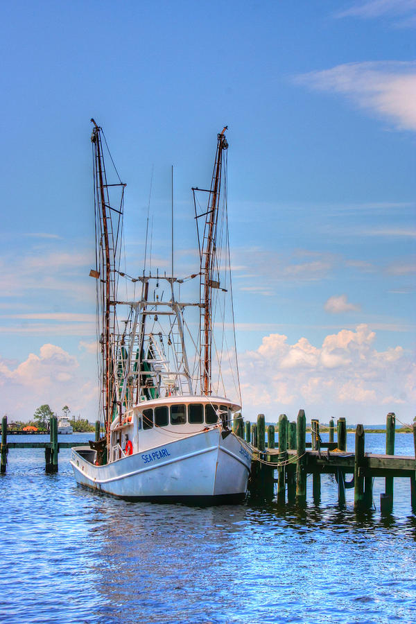 Coastal Photograph - Shrimp Boat At Dock by Barry Jones