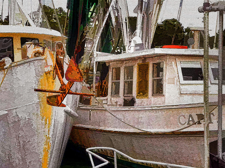Boats Photograph - Shrimp Boats by Larry Bishop
