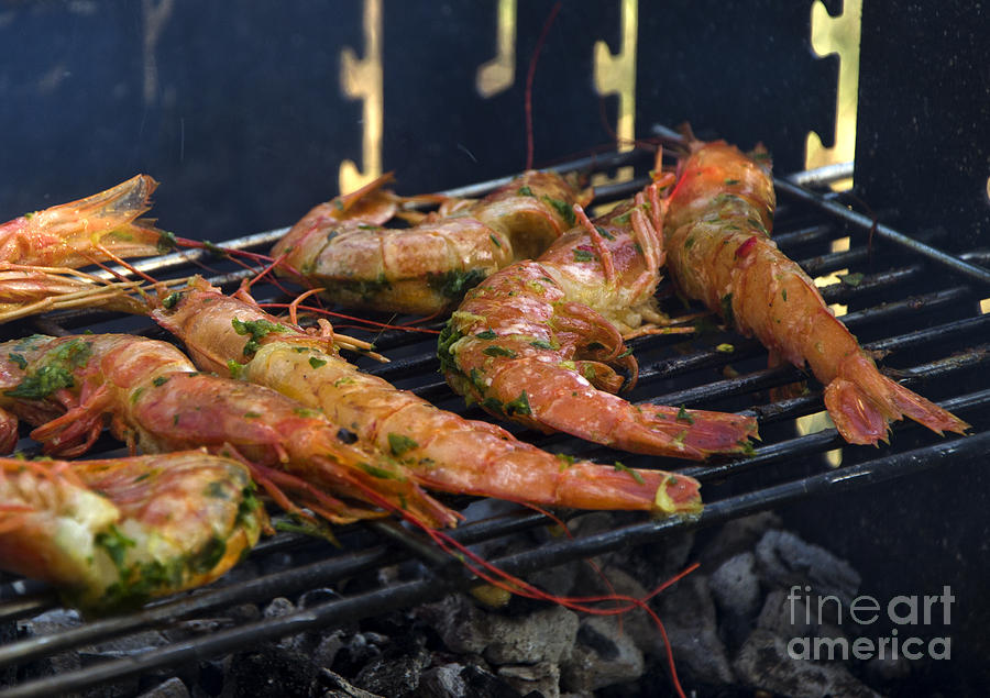 Food Photograph - Shrimp On Bbq by Perry Van Munster