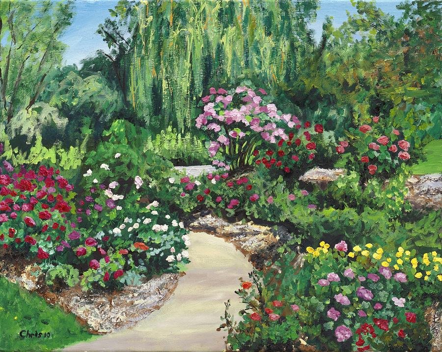 Shrub rose garden painting by christina plichta for Garden painting images