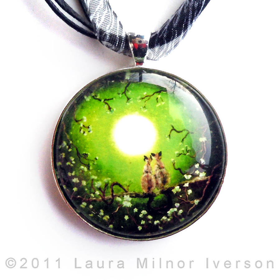 Handmade Jewelry - Siamese Cats In Spring Moonlight Pendant by Laura Iverson