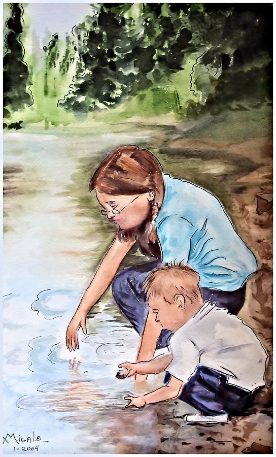 Children Painting - Siblings by Myrna Migala
