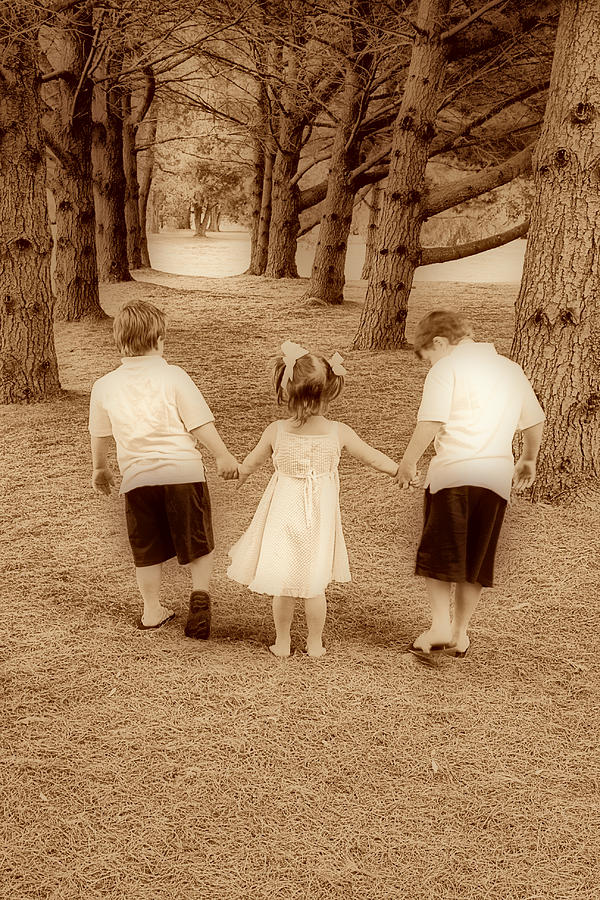 Brothers Photograph - Siblings Taking A Walk by Trudy Wilkerson
