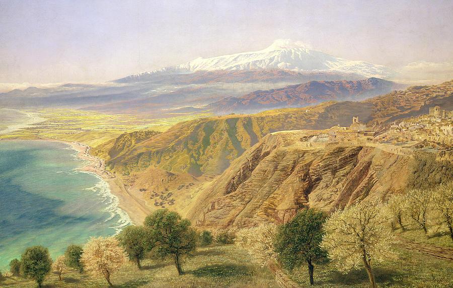 Landscape; Sicilian; Coastal; Coast; Coastline; Sicily; Taormina; Mountain; Mountains; Tree; Trees Painting - Sicily - Taormina by John Brett