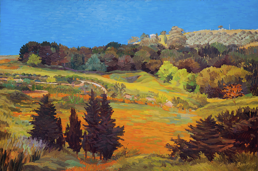 Sicily Landscape Painting By Judith Barath