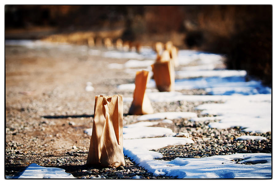 Taos Photograph - Side Road Luminaries by Lisa  Spencer