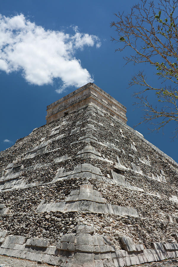 Vertical Photograph - Side View Of Chichen Itza Pyramid by L. Bressand