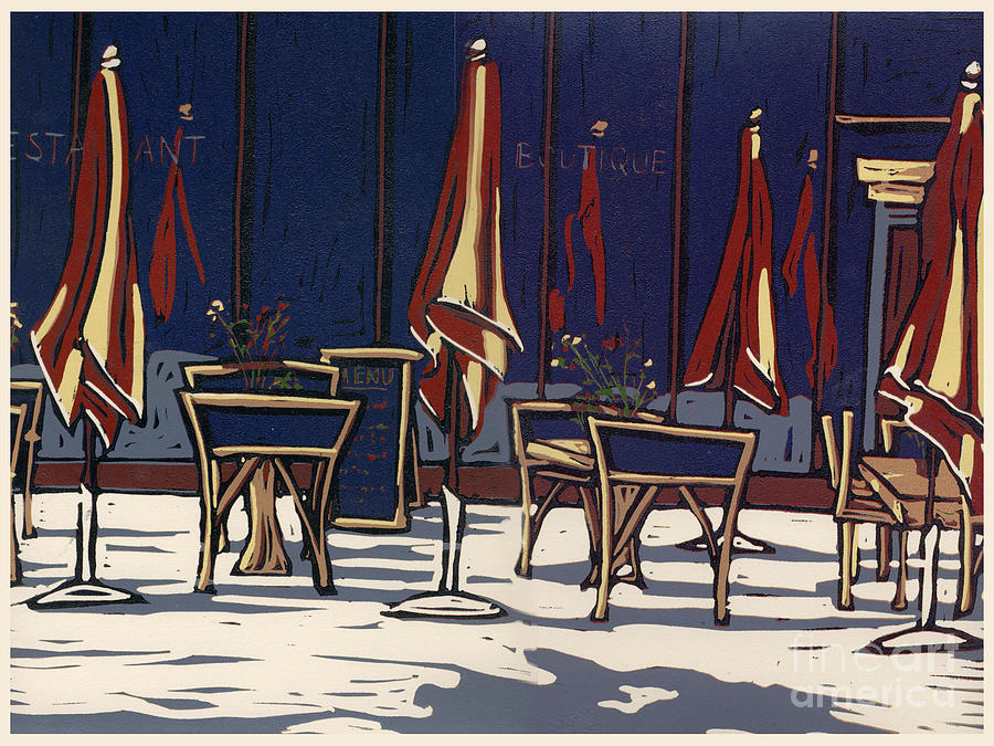 Limited Edition Painting - Sidewalk Cafe - Linocut Print by Annie Laurie