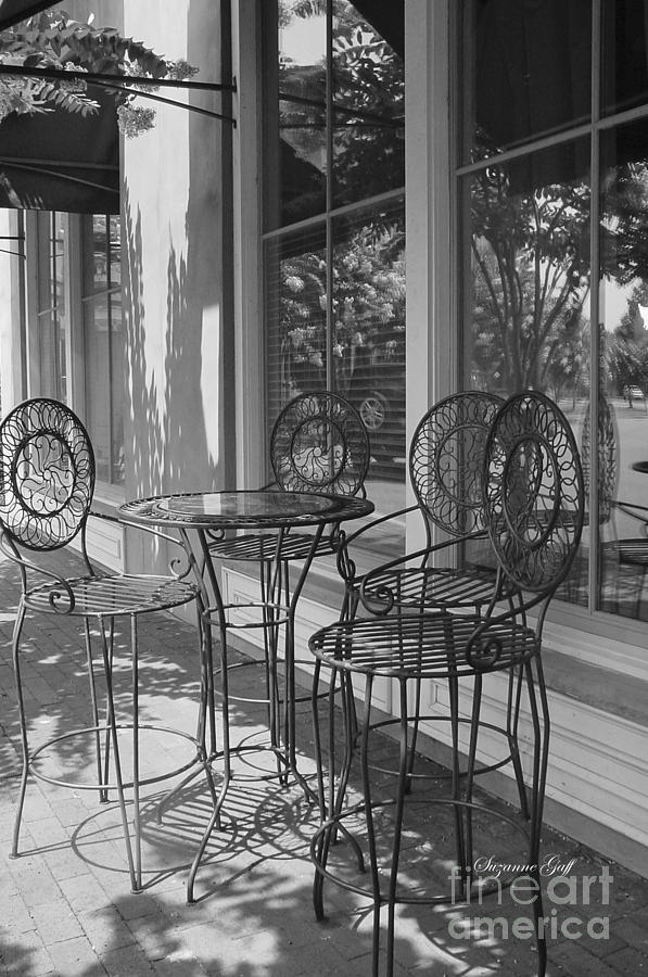 Black And White Photograph - Sidewalk Cafe - Afternoon Shadows by Suzanne Gaff