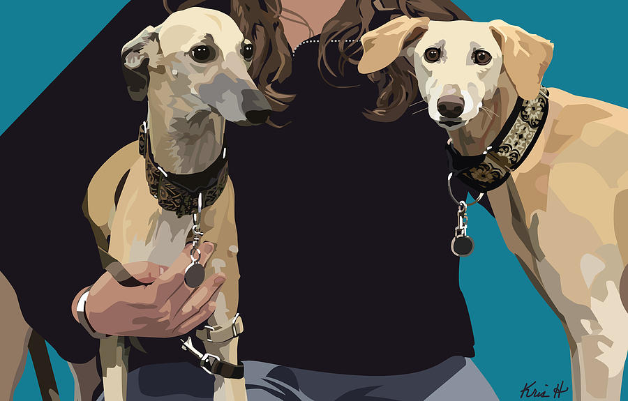 Sighthounds Digital Art - Sighthounds by Kris Hackleman