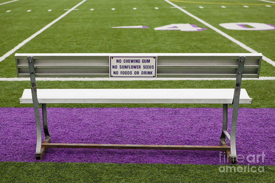 Artificial Grass Photograph - Sign On Athletic Field Bench by Andersen Ross