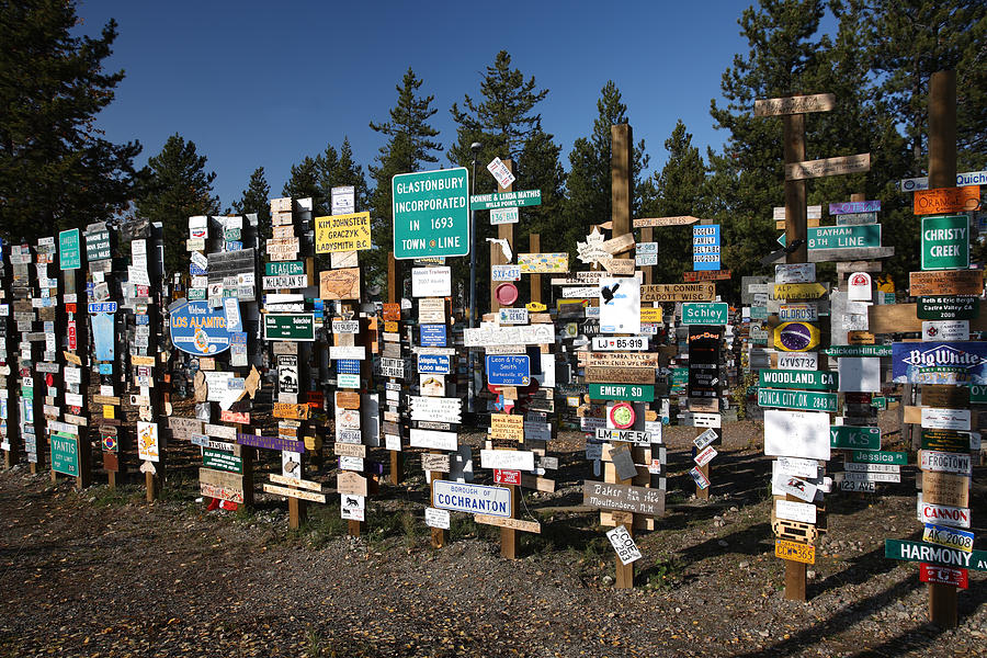 Signs Digital Art - Sign Posts Forest In Watson Lake Yukon by Mark Duffy