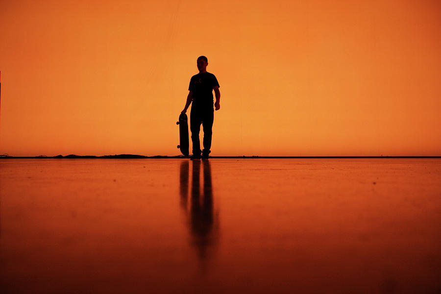 Adult Photograph - Silhouette Of Man With Skateboard, Berlin by Atomare Aufruestung