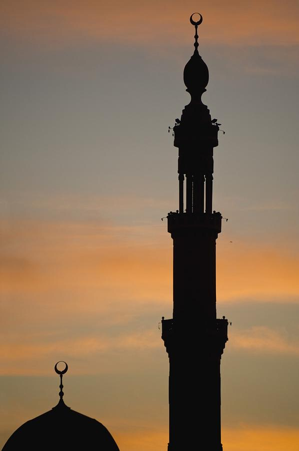 Egypt Photograph - Silhouette Of Mosque At Dawn by Axiom Photographic