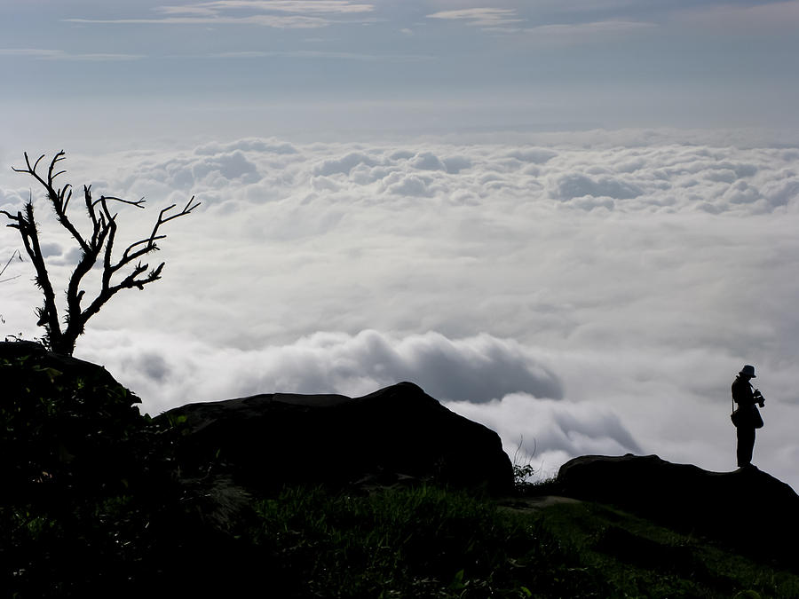 Background Photograph - Silhouette Photographer With Group Of Clouds And Fogs by Nawarat Namphon