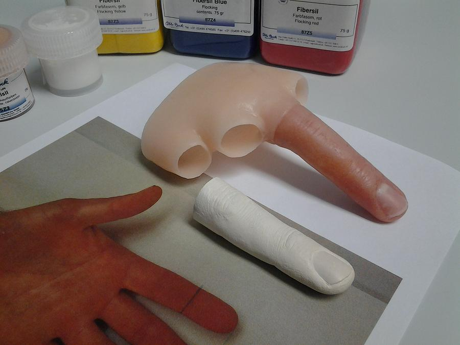 Prosthetics Sculpture - Silicone Finger by Riek  Jonker