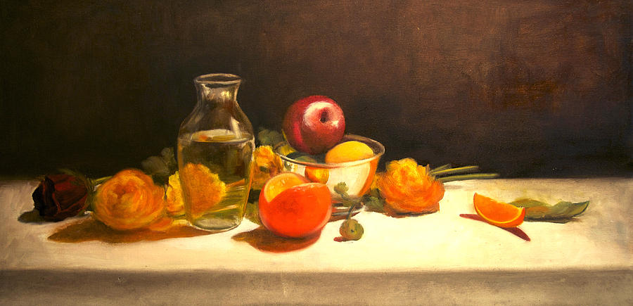 Orange Painting - Silver and Glass by Jayne Howard