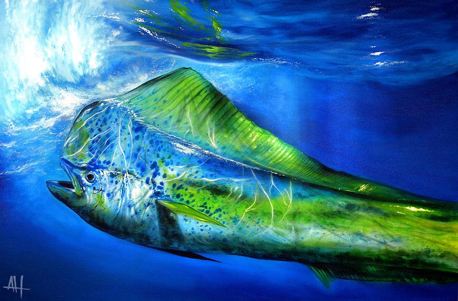 Silver Blue Mahi Painting by Ashton Howard