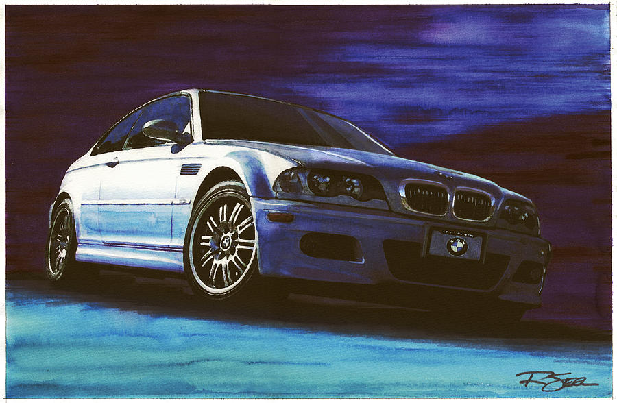 Bmw Painting - Silver Bmw M3 by Rod Seel