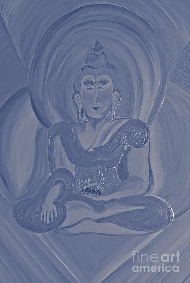 First Star Art By Jrr Painting - Silver Buddha by First Star Art
