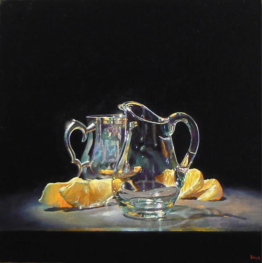 Silver Glass Oranges Painting by Jeffrey Hayes