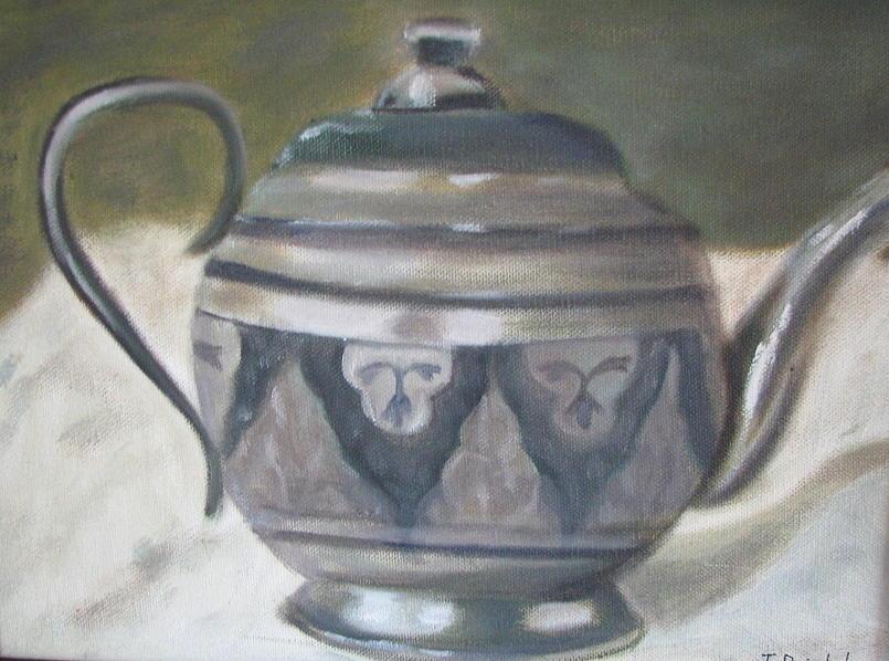 Silver Painting - Silver Tea Kettle by Iris Nazario Dziadul