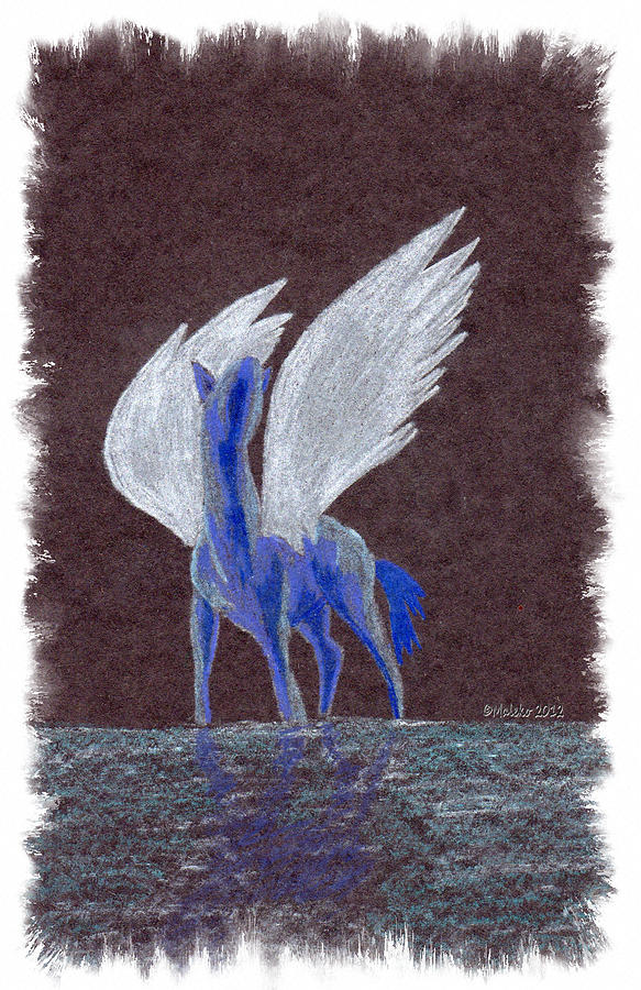 Pegasus Drawing - Silver Wings by Mark Schutter
