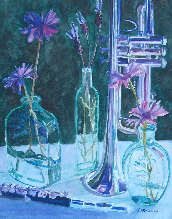 Still Life Painting - Silvery Night Music by Jenny Armitage