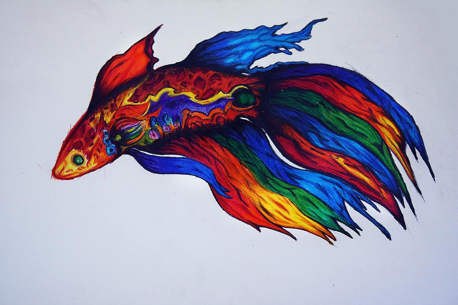 Simese Fighting Fish - Betta Drawing by Ricky Sandoval  Betta