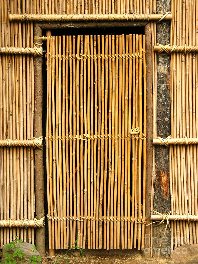 Metal beaded curtain - Simple Bamboo Door Photograph By Yali Shi