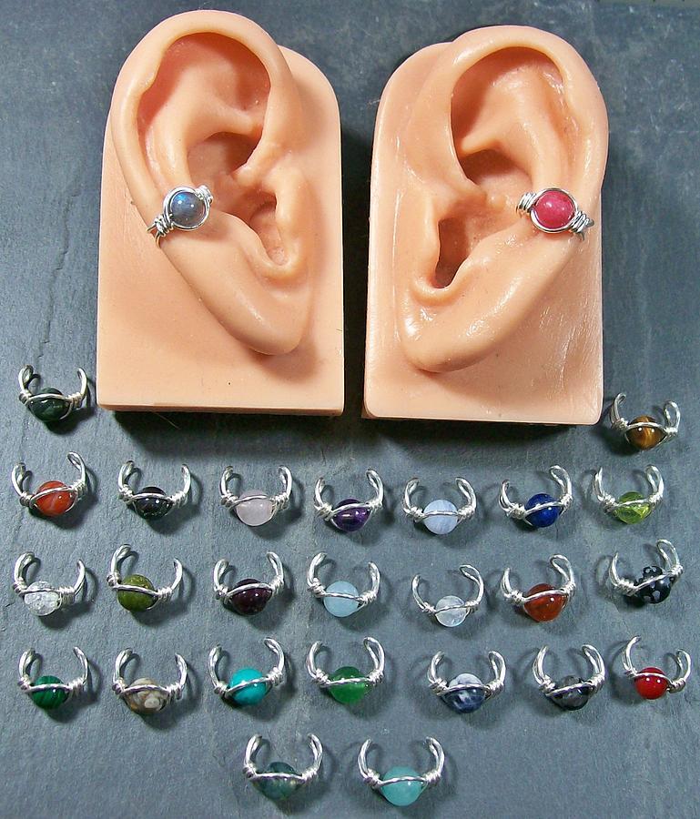 Silver Jewelry - Simple Gemstone Ear Cuff by Heather Jordan