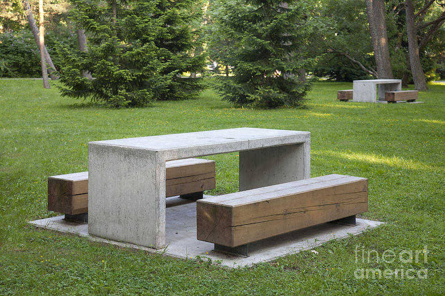 Simple Park Benches And Tables Photograph By Jaak Nilson