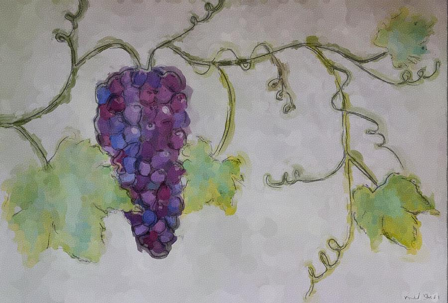 Watercolor Painting - Simply Grape by Heidi Smith