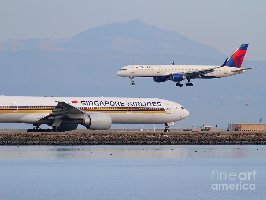 Airplane Photograph - Singapore Airlines And Delta Airlines Jet Airplane At San Francisco International Airport Sfo by Wingsdomain Art and Photography
