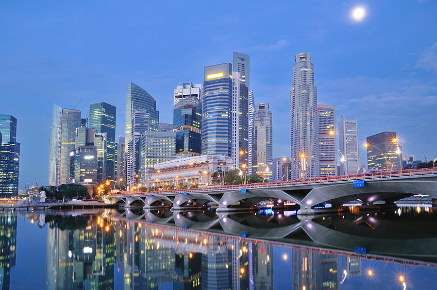 Horizontal Photograph - Singapore Central Business District Skyline by Photo by Salvador Manaois III
