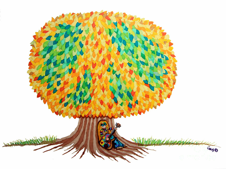 Peace Drawing - Singing Under The Peace Tree by Nick Gustafson