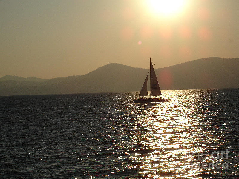 Landscape Photograph - Single Sailboat by Silvie Kendall