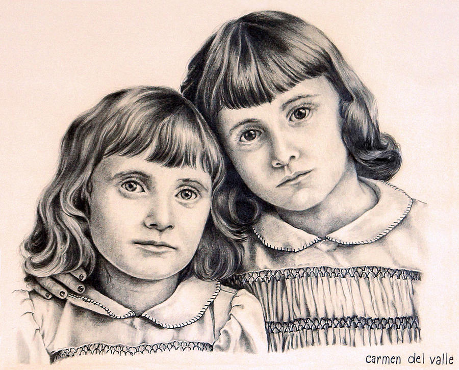 Children Drawing - Sisters by Carmen Del Valle