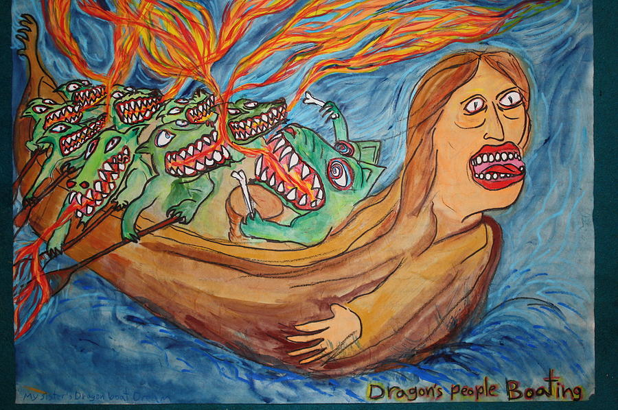 Sureal Painting - Sisters Dragon Boat Dream by Shawn Mackniak